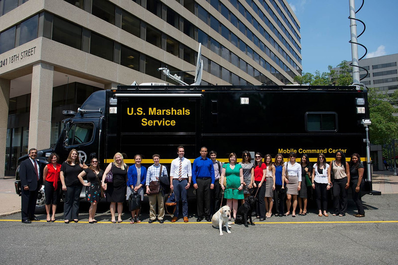Students in front of the U.S. Marshals Service Mobile Command Center