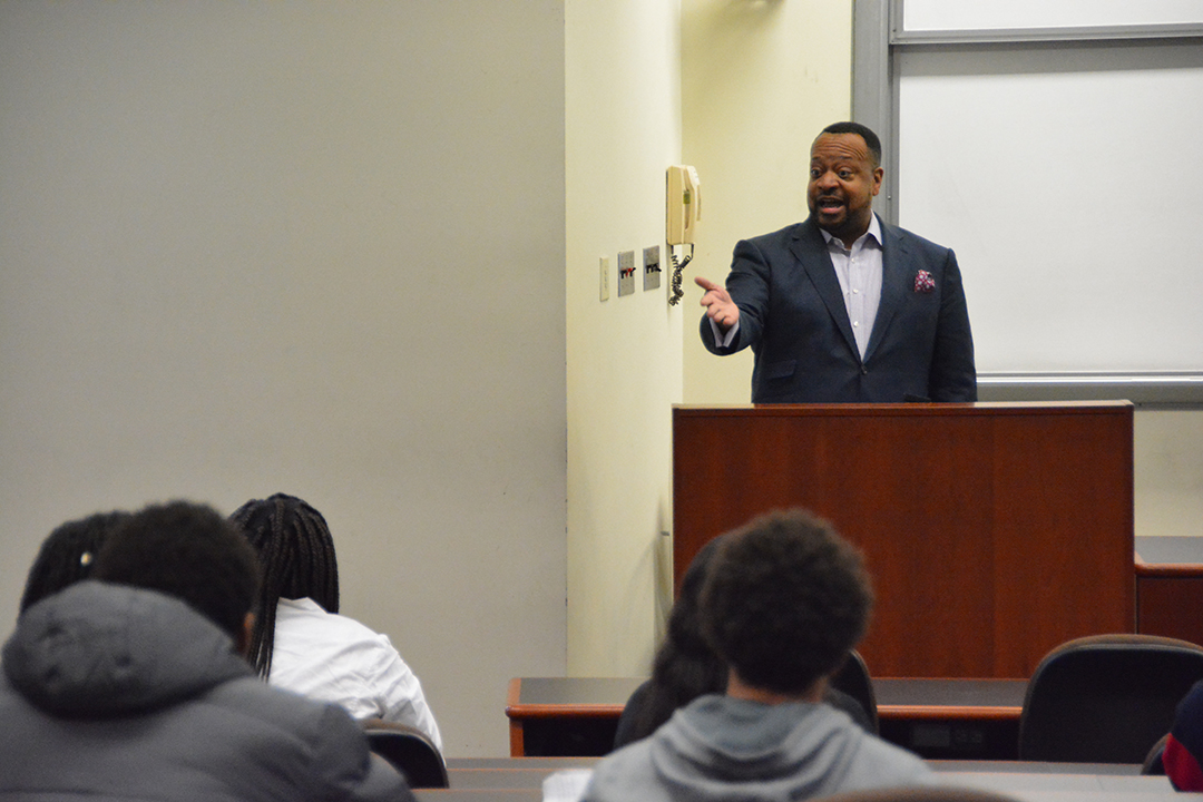 Professor Roger A. Fairfax, Jr. lectures to a group of high school students.