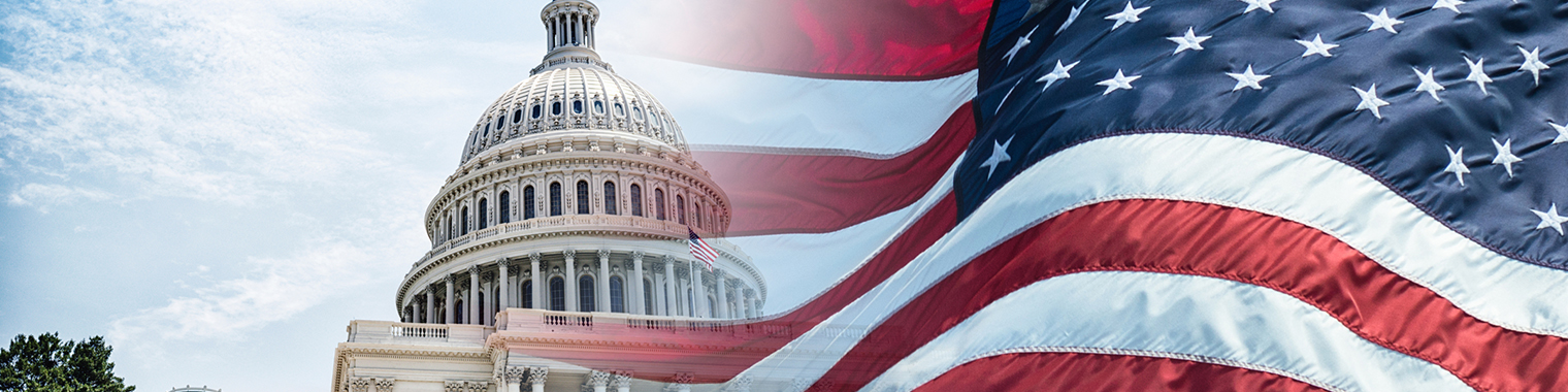 Photo of the U.S. Capitol and the America Flag