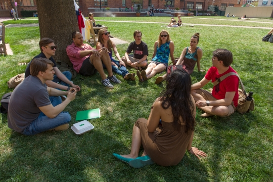 Student group meets on the GW Law quad.