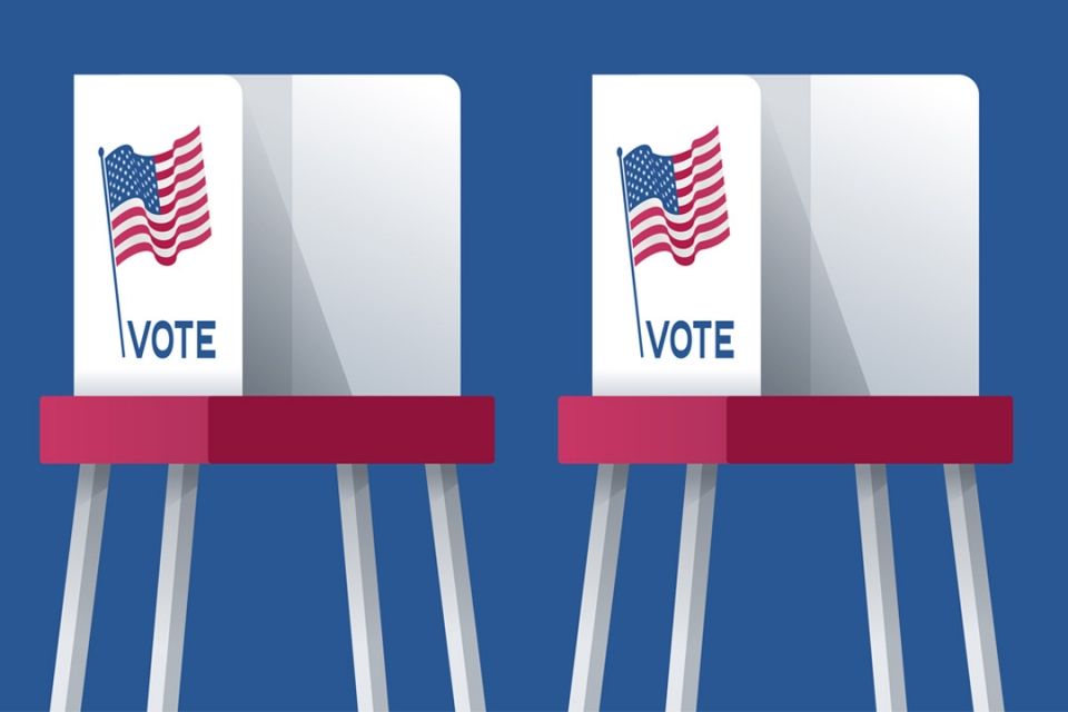 illustration of voting booth