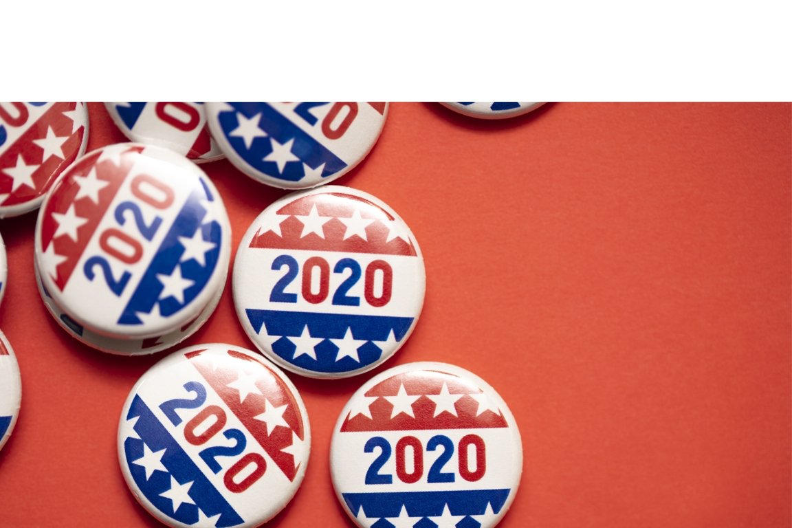 Buttons with 2020 and Stars