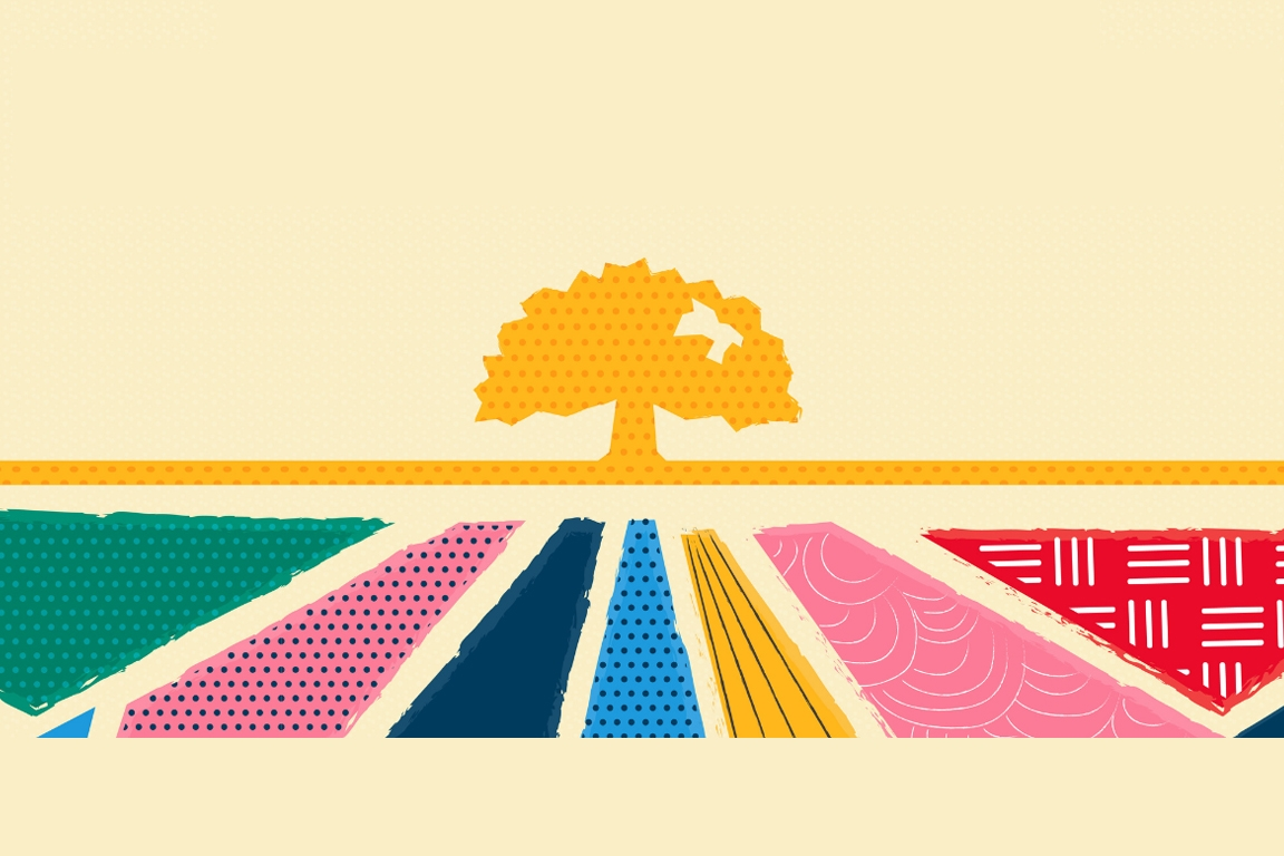 """Text """"Honoring Our Roots. Embracing Our Future"""" on a Yellow Background Above a Tree"""