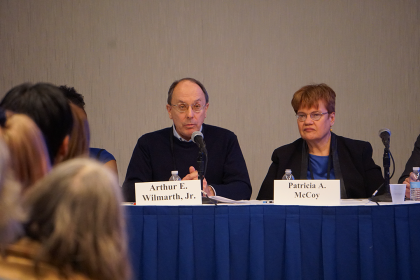Arthur E. Wilmarth, Jr. speaks at a panel during the 2020 AALS Annual Meeting