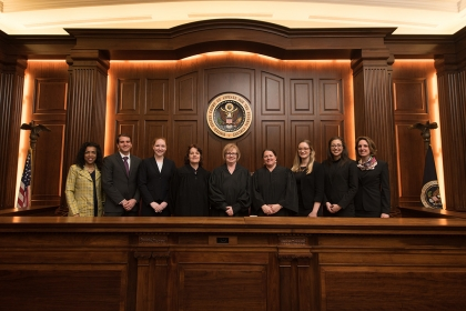 Students with judges - Dentons Moot Court Competition