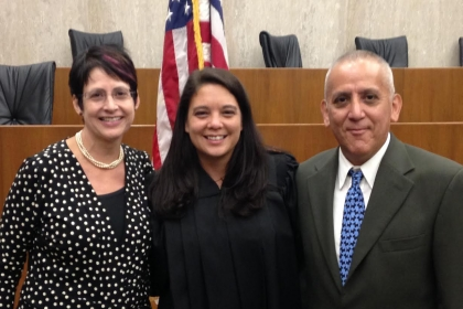 Judge Young and Alberto Benitez, Professor of Clinic Law and Immigration Clinic Director