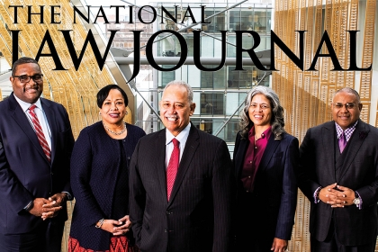 Grace Speights stands with four other African American Managing Partners for the National Law Journal January cover story.