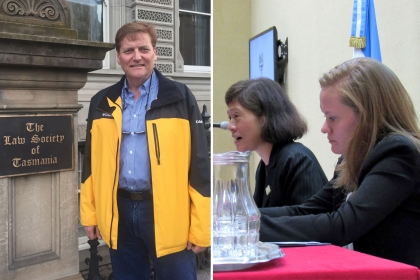 Photos of GW Law professors lecturing abroad.