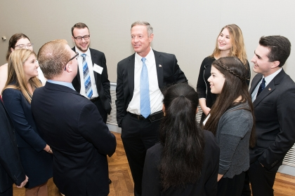 Former Governor O'Malley with GW Students