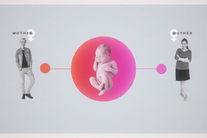 Graphic of a same-sex couple and a baby
