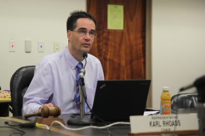 Representative Karl Rhoads (D-13) speaks at a committee hearing as Chair of the Judiciary Committee in the Hawaii State Senate.