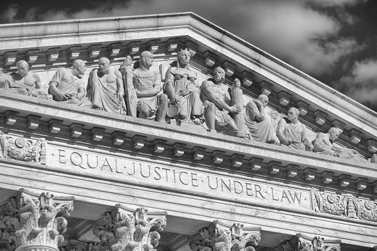 A close-up image of the architecture of the Supreme Court